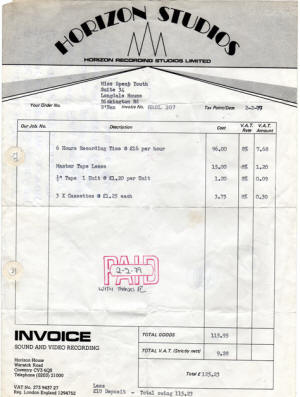 New Page - Recording studio invoice