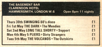 advert for the 39 basement bar 39 appeared in sounds on 2