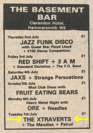 the 39 basement bar 39 hammersmith from tuesday 7th july 1981 appeared
